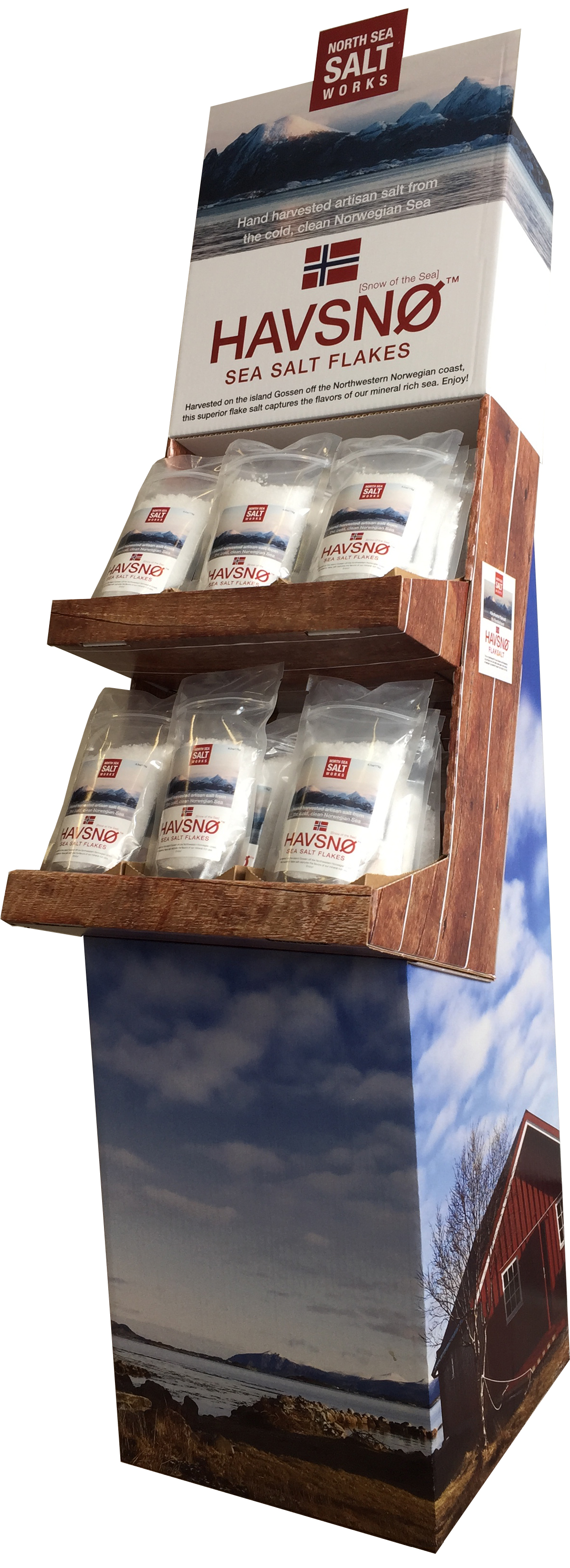 Retail display of Havsnø sea salt flakes