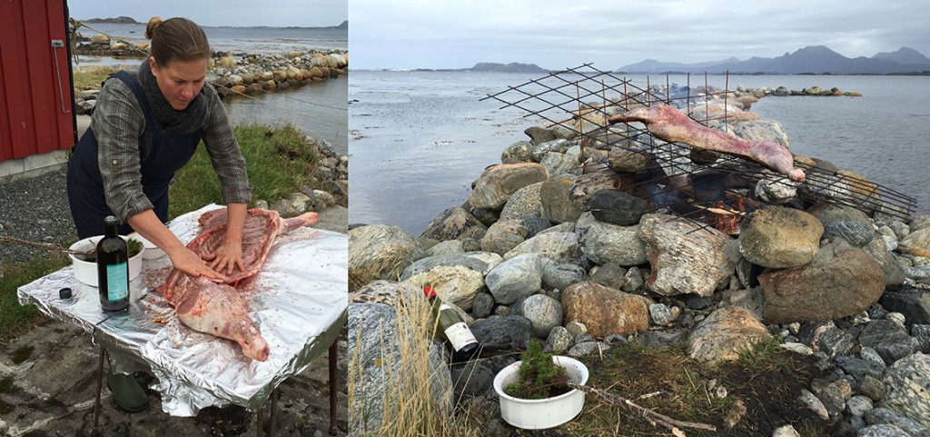 Lamb med Havsnø Flaksalt, havsalt, bakt sakte over bål, sea salt flakes, lamb roast over fire pit, Meersalzflocken